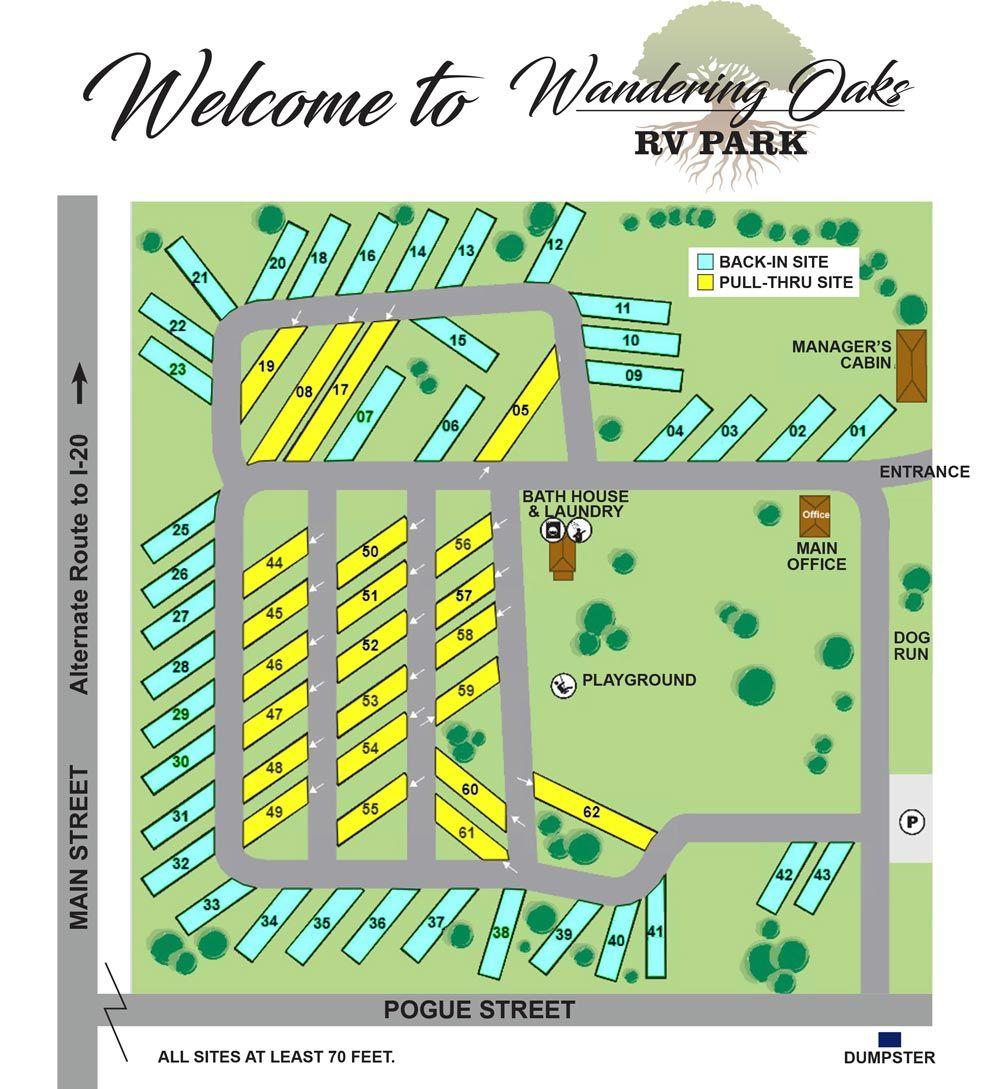 Park Map for Wandering Oaks RV Park in Eastland, TX
